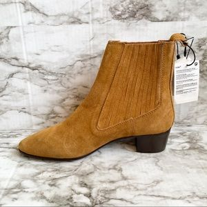 Zara Mid-Height Heeled Suede Cowboy Ankle Boot
